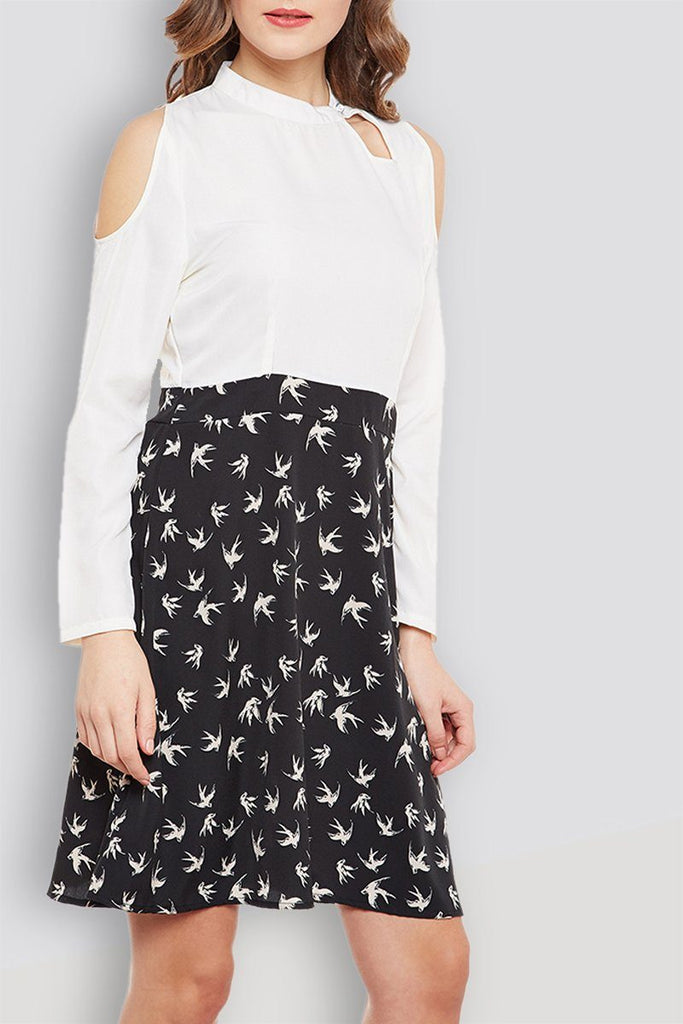 Cold Shoulder Black And White Casual Printed Dress