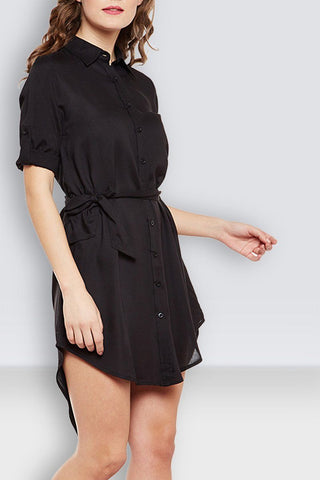 Black Buttoned Shirt Dress