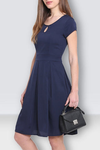 Navy Blue Flared Midi Dress
