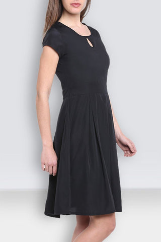 Black Flared Midi Dress
