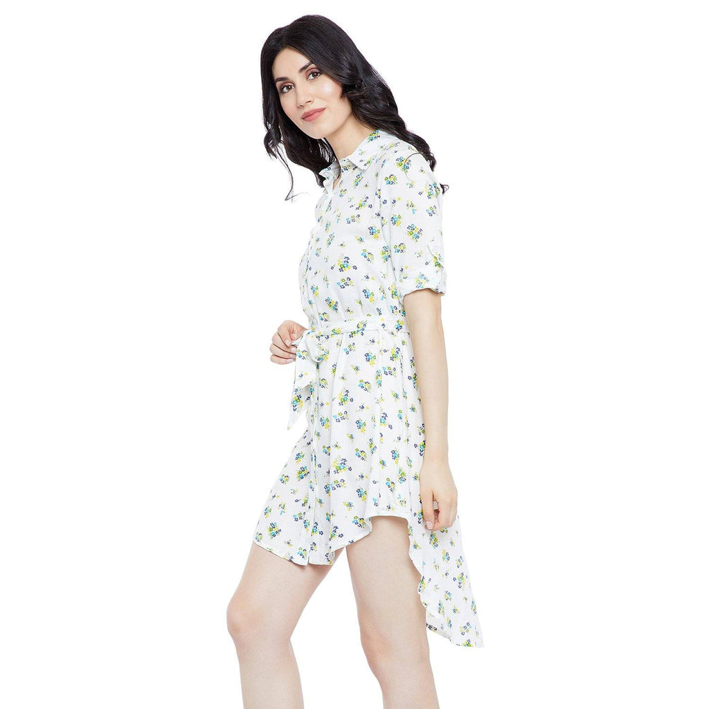 GJ Couture Women's Rayon White Printed 3/4 Sleeve Casual Dress