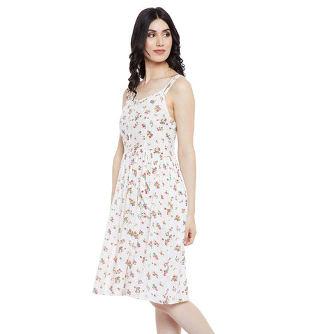 GJ Couture Women's Rayon White Printed Sleeveless Casual Dress with pockets