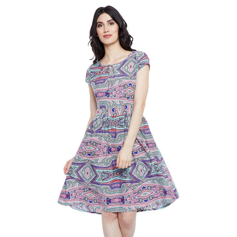 GJ Couture Women's Polycrepe Printed A-Line Cap Sleeve Casual Dress