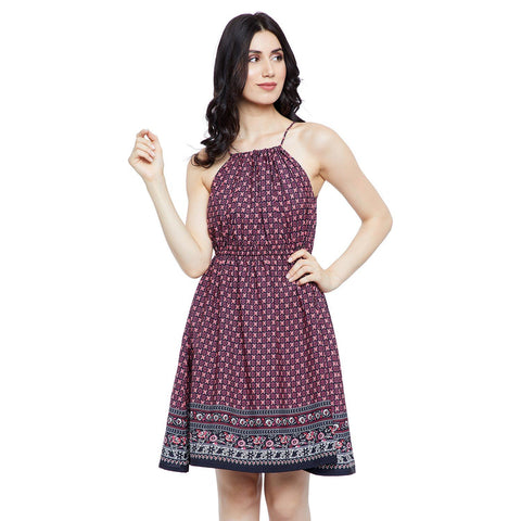 GJ Couture Women's Polycrepe Printed Sleeveless Casual Dress