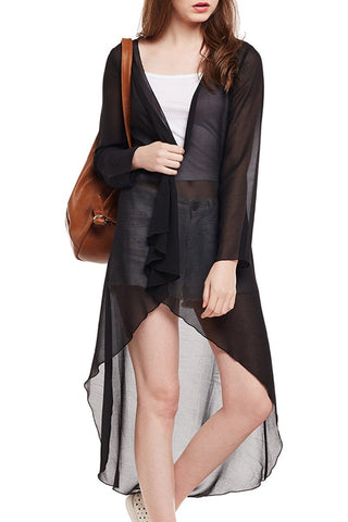 Long Net Black Shrug
