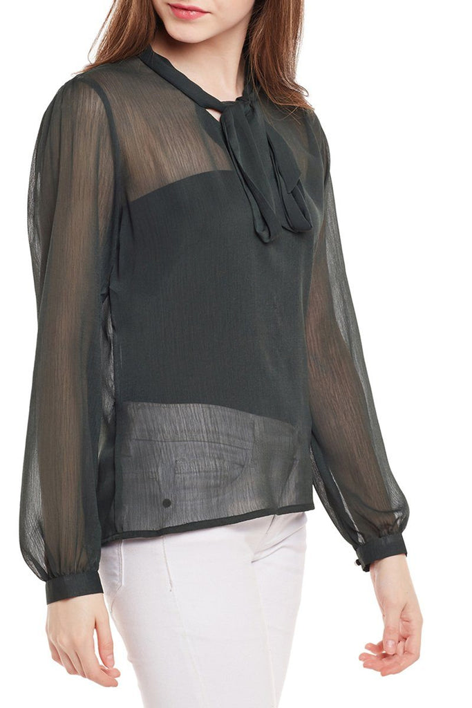 Tied-Up Full Sleeve Net Top