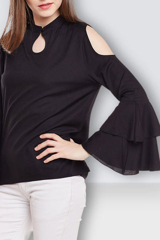 Cold Shoulder Black Top
