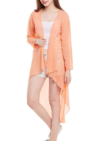 Long Net Peach Shrug
