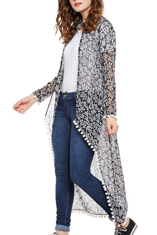 Long Casual Printed Pom Pom Shrug