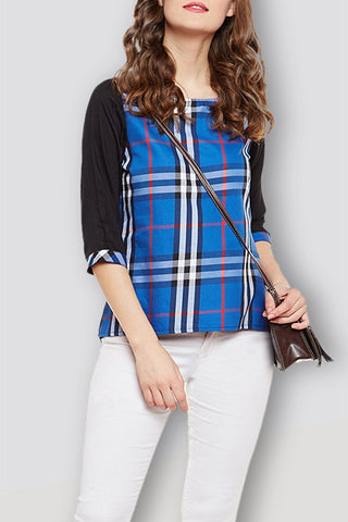 Blue Checker Regular Top