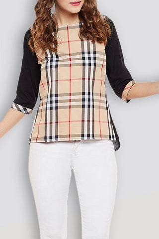 Beige Checker Regular Top