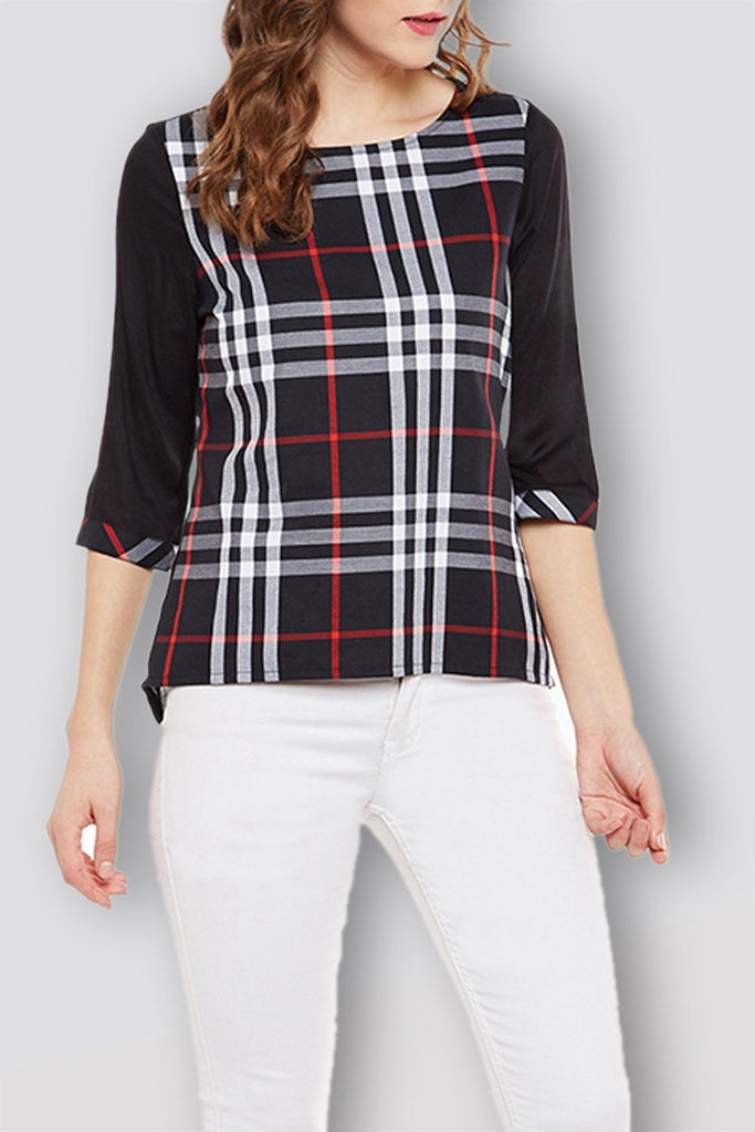 Black Checker Regular Top
