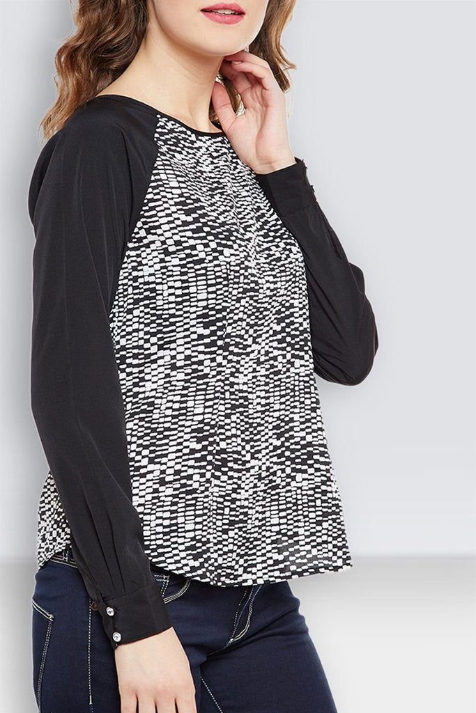 Black Printed Poly Crepe Regular Top