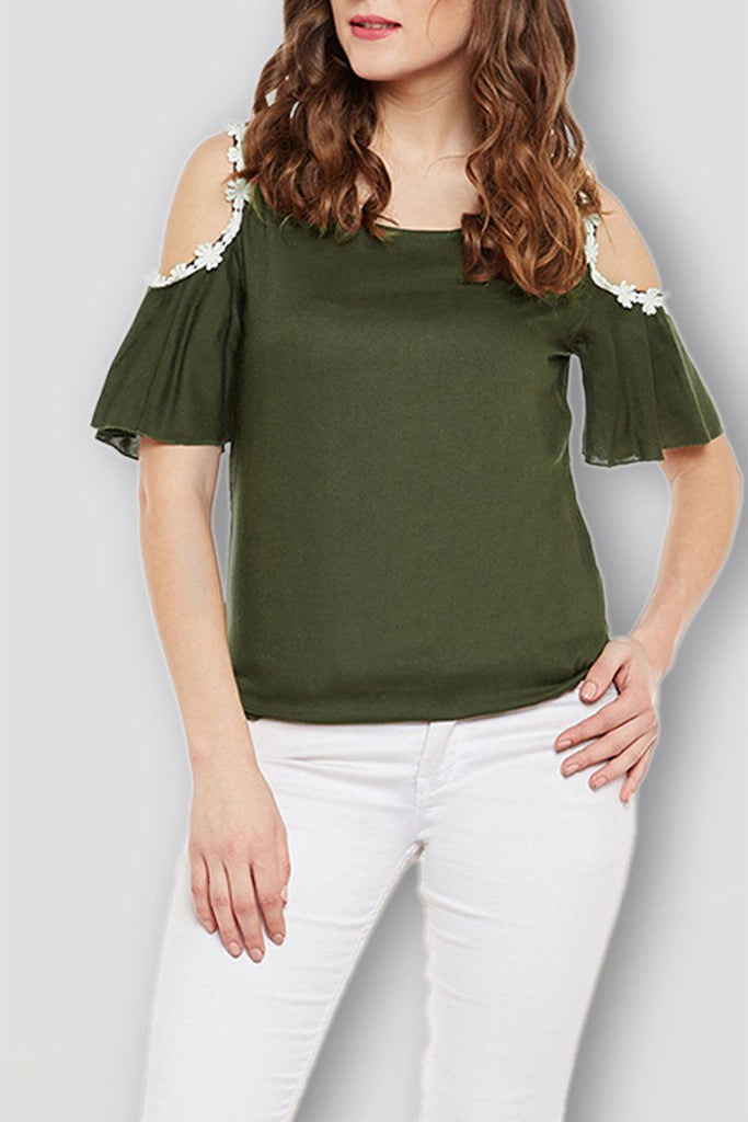 Olive Elegant Sleeves Top