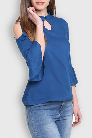 Cold Shoulder Navy Blue Top