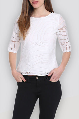 Net Printed Stylish White Top