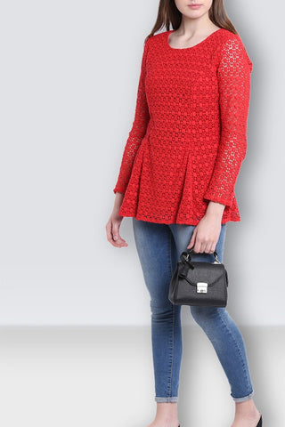 Women's Lace Casual Red Top