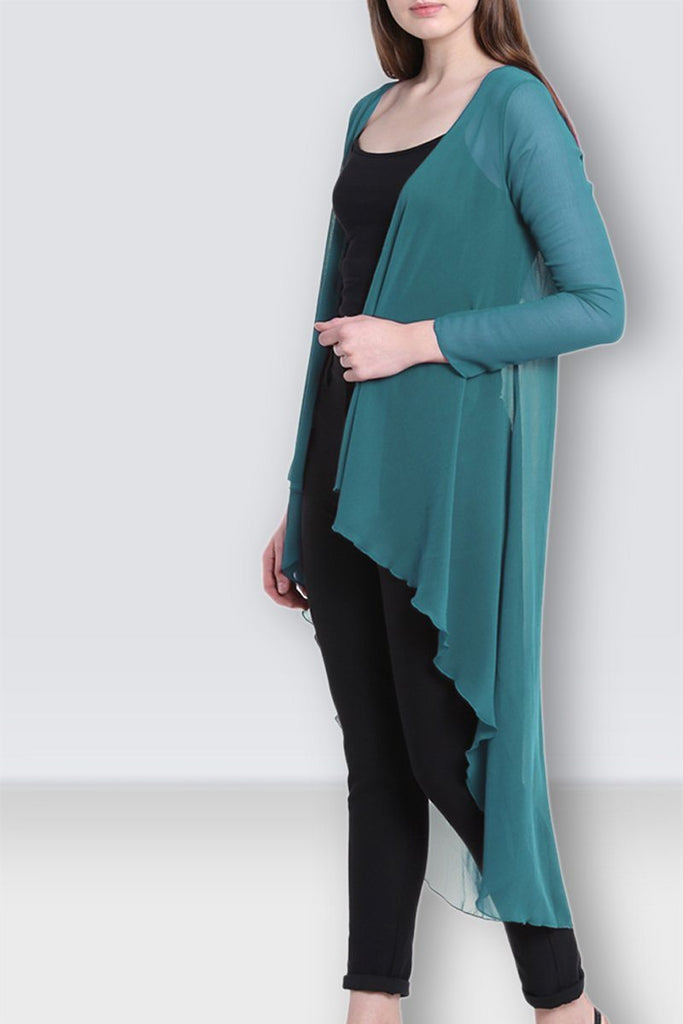 Graceful Aqua Green Long Shrug