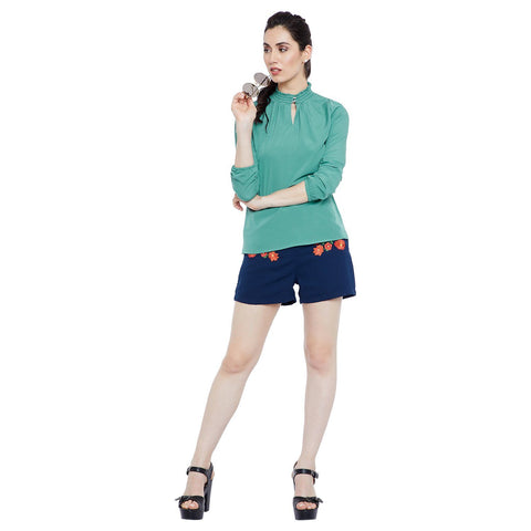 GJ Couture Women's Solid Green Polycrepe Top