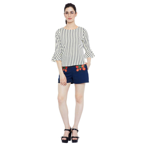 Black and White Stripes Polycrepe Top