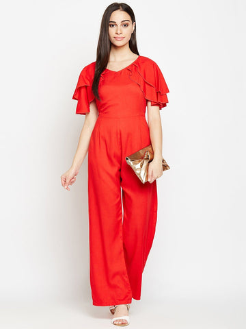 Solid Frill Sleeves Red Jumpsuit
