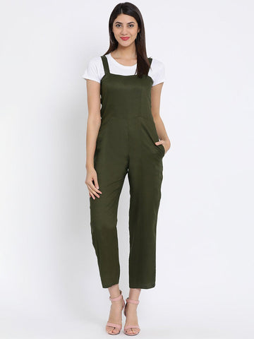 Olive Solid Basic Jumpsuit