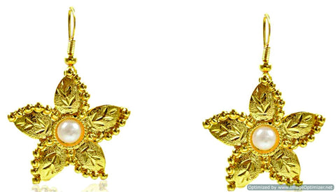 Kshitij Jewels Gold Plated Hook Earringss for Everyday Use, With Kundan Theme and Floral Collection