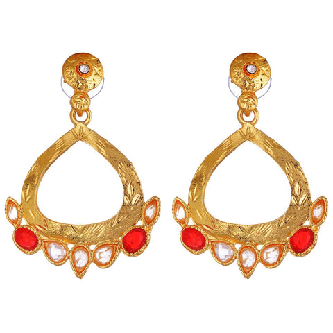 Kshitij Jewels Gold Red Metal Dangle & Drop Earrings For Women (KJ 022)
