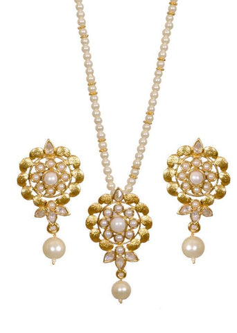 Kshitij Jewels Gold Moti Metal Pendant Jewellery Set For Women (KJ 059)