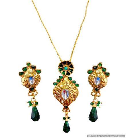 Kshitij Jewels Gold Plated Drop Earringss for Wedding & Engagement Use, With Kundan Theme and Design