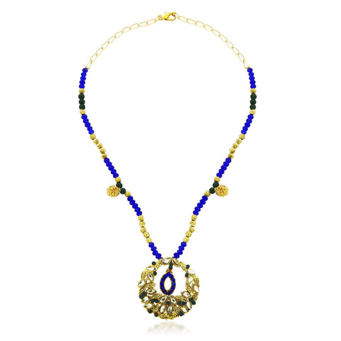 Kshitij Jewels Blue Pink Metal Pendant Necklace Set For Women (KJ 155)