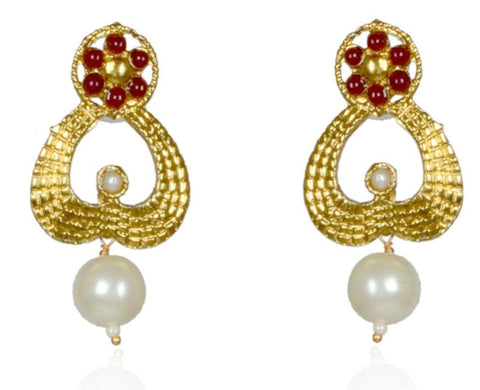 Kshitij Jewels Gold Plated Drop Earringss for Everyday Use, With Kundan Theme and Ethnic Collection