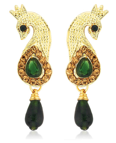 Kshitij Jewels Classic Peacock Gold Plated Earring KJ241