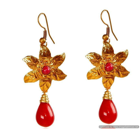 Kshitij Jewels Gold Plated Drop Earringss for Everyday Use, With Kundan Theme and Floral Collection