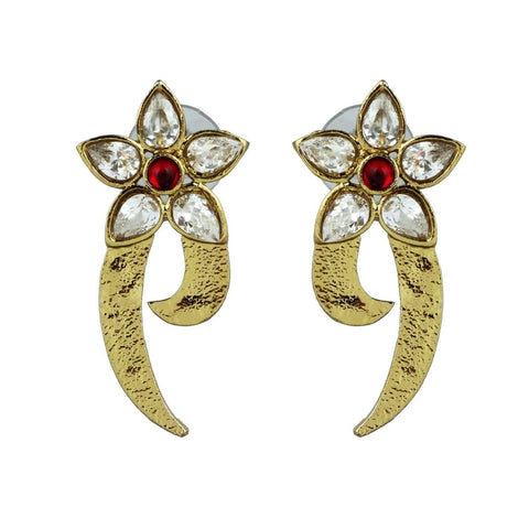 Kshitij Jewels Ethnic Gold Plated Floral Stud Earring KJ261