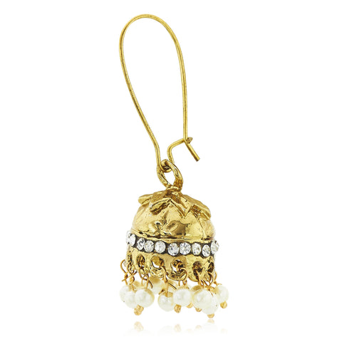 Kshitij Jewels Gold Metal Jhumki Earrings For Women (KJ 308)