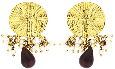Kshitij Jewels Gold Red Metal Dangle & Drop Earrings For Women (KJ 312)