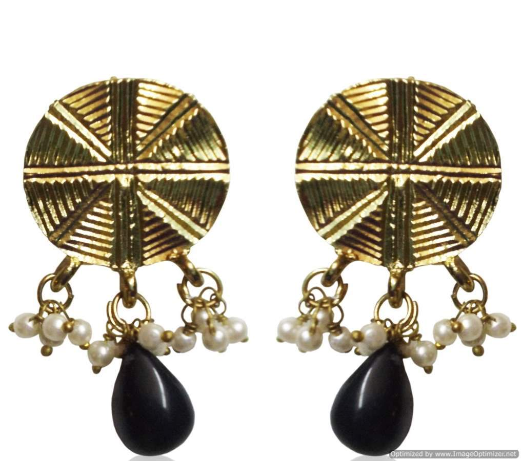Kshitij Jewels Gold Black Metal Dangle & Drop Earrings For Women (KJ 313)