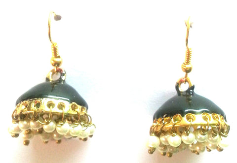 Kshitij Jewels Gold Plated Jhumki Earringss for Workwear Use, With Meenakari Theme and Ethnic Collec