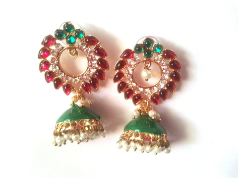 Kshitij Jewels Gold Plated Jhumki Earringss for Wedding & Engagement Use, With Meenakari Theme and F