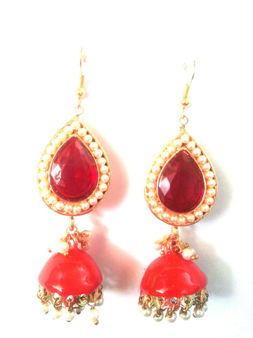Kshitij Jewels Gold Plated Jhumki Earringss for Wedding & Engagement Use, With Meenakari Theme and E