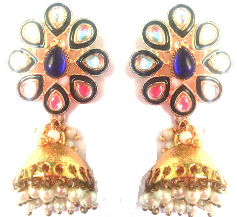 Kshitij Jewels Gold Plated Jhumki Earringss for Wedding & Engagement Use, With Kundan Theme and Flor