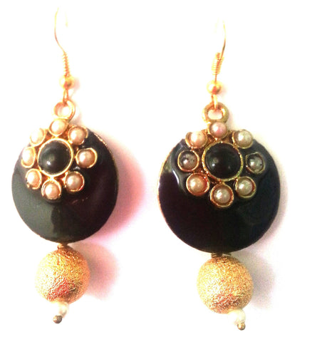 Kshitij Jewels Gold Plated Drop Earringss for Workwear Use, With Meenakari Theme and Designer Collec
