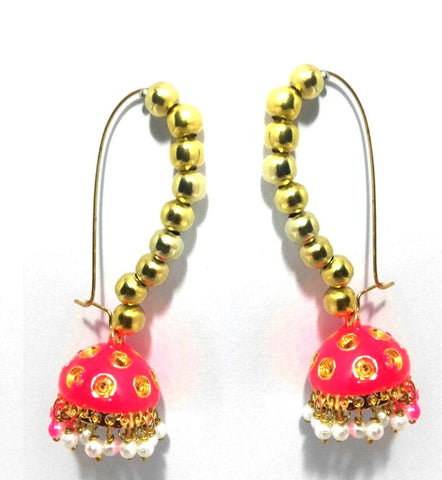 Kshitij Jewels Gold Plated Jhumki Earringss for Wedding & Engagement Use, With Meenakari Theme and D
