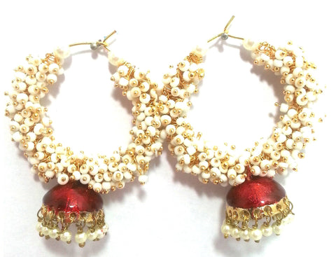 Kshitij Jewels Gold Plated Jhumki Earringss for Workwear Use, With Meenakari Theme and Designer Coll