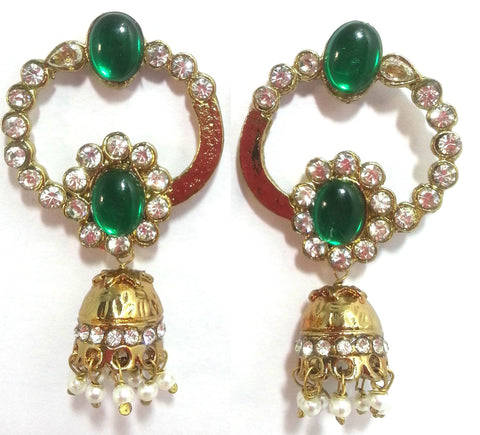 Kshitij Jewels Gold Plated Jhumki Earringss for Wedding & Engagement Use, With Kundan Theme and Desi