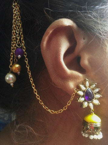 Kshitij Jewels Gold Plated Tassel Earringss for Wedding & Engagement Use, With Meenakari Theme and D