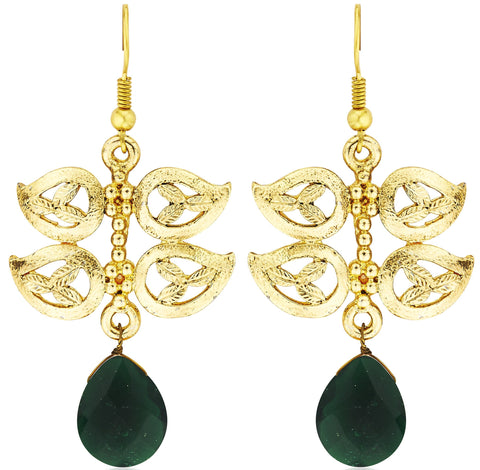 Kshitij Jewels Ethnic Gold Plated Leaf Hangging Earring KJM049