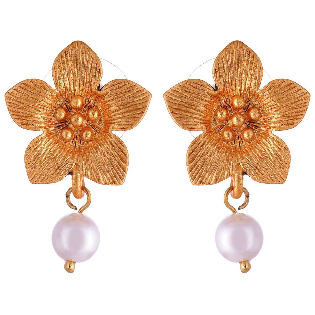 Kshitij Jewels Floral Look Earring Gold Plated With Pearl Drop KJR011