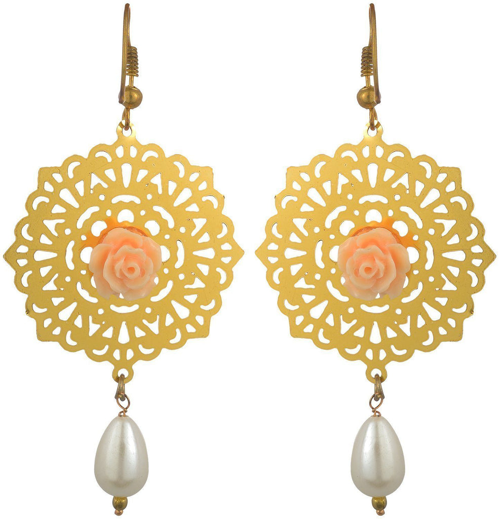 Kshitij Jewels Gold Metal Dangle & Drop Earrings for Women (KJS006)
